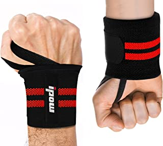 """IPOW 18.5"""" Professional Quality Wrist Straps Support Braces Wraps Belt Protector with 2.5"""" Thumb Loops for Powerlifting, B..."""