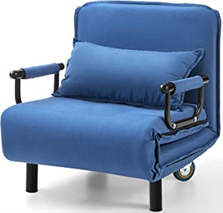 Kealive Sofa Chair Fold Out Bed with Arm, Single Sleeper Recliner for Living Room, Full Padded Futon Sofa Bed, 5 Position Convertible Sofa Chair with Wheel, Lounger Couch Bed with Pillow Large