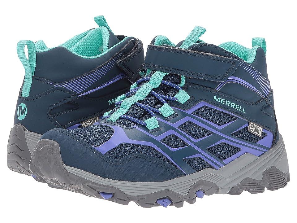 Merrell Kids Moab FST Mid A/C Waterproof (Little Kid) (Navy) Girls Shoes