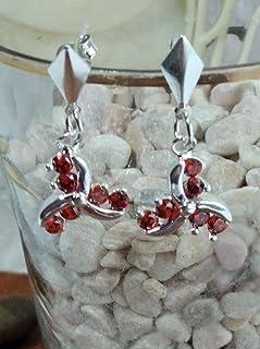 Pendientes de plata y circonita en rojo de 3 cm de largo y 1,5 cm de ancho