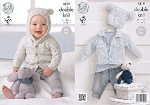 King Cole Double Knitting Pattern Baby Hooded or Collared Cardigan & Hat Easy Knit Smarty DK (4319)
