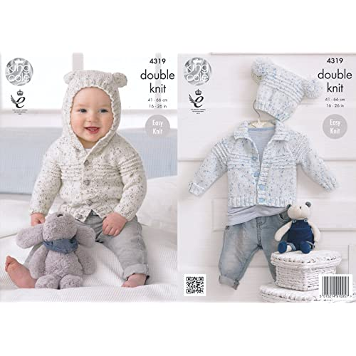 18aba945a King Cole Double Knitting Pattern Baby Hooded or Collared Cardigan   Hat Easy  Knit Smarty DK