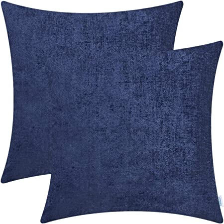 ANISE Print Linen Type Rectangular Decorative Pillow Cover Mint-Colored Pom Poms Fringe with Hidden Zipper 11x20 Blue inches