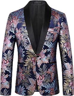 Pizoff Mens Luxury Blazer Leaves Gilding Regular Fit Velvet Christmas Suit