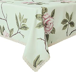 Wewoch Decorative Floral Print Polyester Rectangle Tablecloth Waterproof Fabric Lace Table Cloth, Table Cover for Dining Room and Party (60x120-Inch, Pale Green)