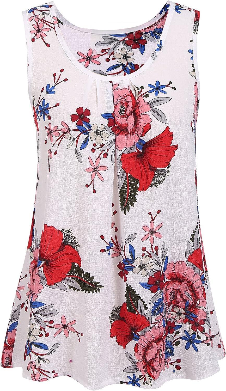 Mofavor Women's Floral Print Tank Top Sleeveless Loose Casual Summer Tunic