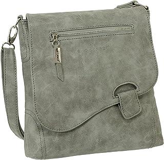 Ledershop24 Geschenkset - Handtasche Schultertasche Umhängetasche Wildleder-Imitat Used Look mit Riegelverschluss Farbe grau
