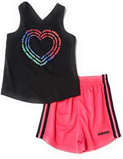 adidas Little Girls 2pc Tank Top Shirt and Shorts Set
