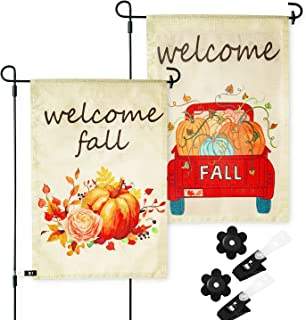 2 Fall Garden Flags with Anti-Wind Clip and Rubber Stopper 12.5 x 18 inch Pumpkin Flower Truck Decoration Yard Flags Double Sided Printing Colorful Set of 2 Holidays Flags for Thanksgiving Day