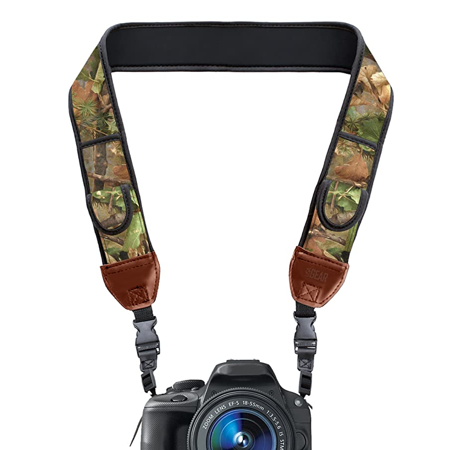 USA Gear TrueSHOT Camera Strap Camouflage Neoprene Pattern Quick Release Buckles Works Canon, Nikon, Fujifilm, Sony, Panasonic More DSLR Cameras