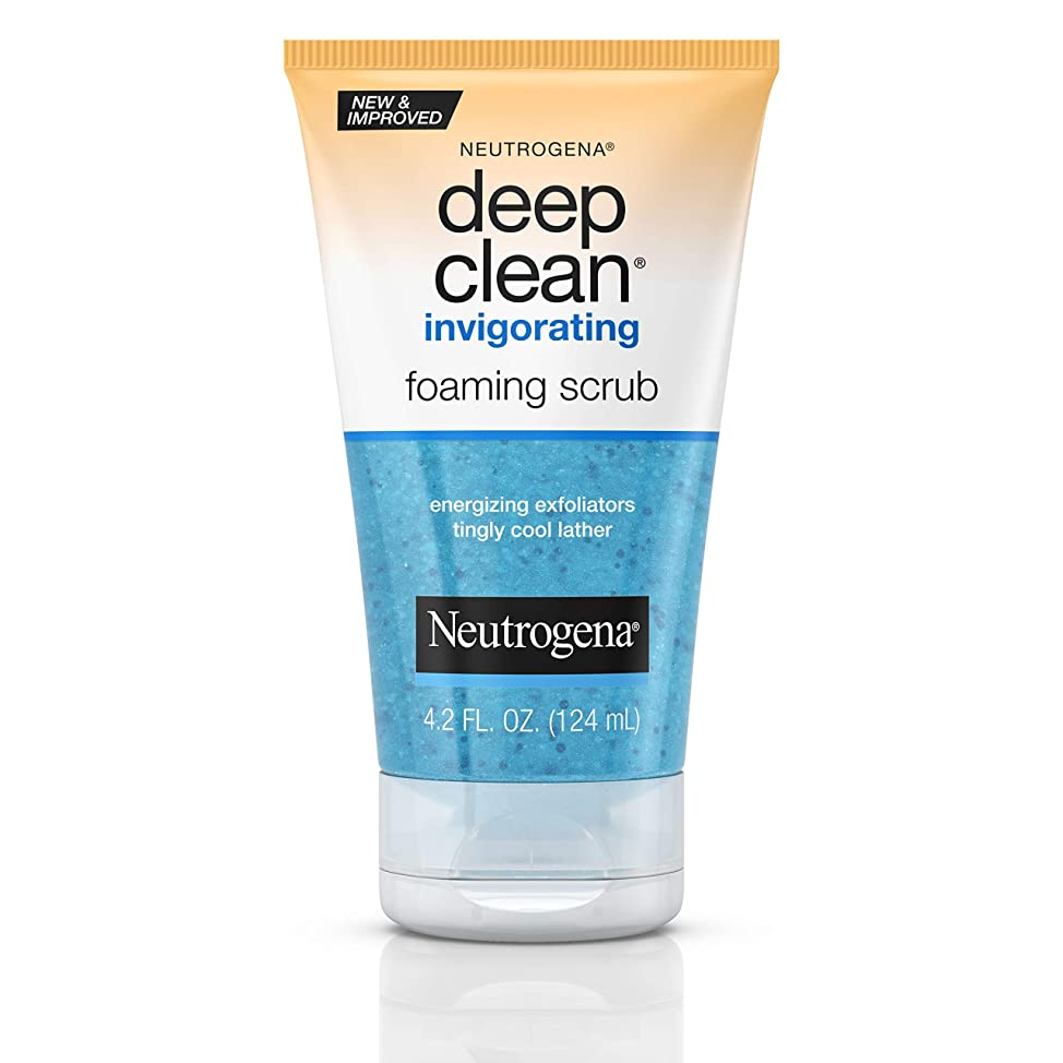 Neutrogena Deep Clean Invigorating Foaming Face Scrub with Glycerin, Cooling & Exfoliating Face Wash to Remove Dirt, Oil & Makeup, 4.2 fl. oz flbkcrhw060