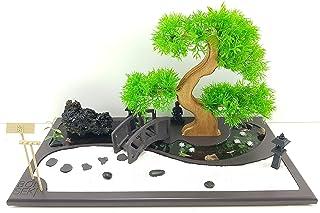 Bonseki® Giardino Zen Miniatura da Tavolo Rettangolare 40 x 20 cm con Buddha, Bonsai e Laghetto in Resina. Personalizzabil...