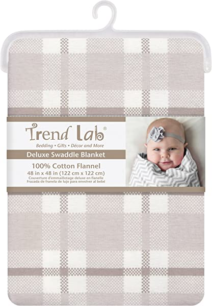 Trend Lab Gray And White Plaid Jumbo Deluxe Flannel Swaddle Blanket