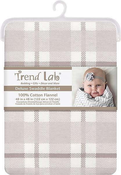 潮流实验室灰色和白色格子巨型豪华法兰绒襁褓毯
