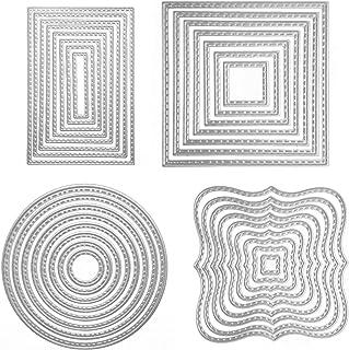 Scrapbooking Dies, 4 Ensembles Dies de Decoupe Scrapbooking 4 Formes Cercle Carré Rectangulaire Matrices De Découpe En Aci...