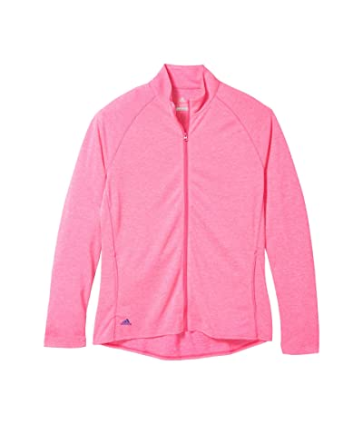 adidas Golf Kids Heathered Knit Jacket (Little Kids/Big Kids) (Shock Pink Melange) Girl