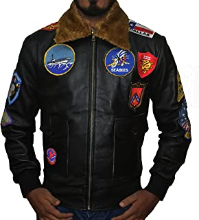 Top Gun Tom Crusise Jet Fighter Bomber Black Leather Jacket,XXS-3XL