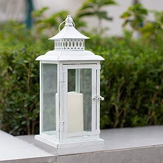 Ninganju 13 Inches Decorative Candle Lantern White Metal Antique Rustic Outdoor Hanging Lanterns Great for Wedding, Patio ...
