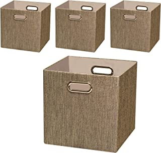 Posprica Storage Cube Basket Bin,11×11 Foldable Storage Boxes Container Closet Organizer Shelf Cabinet Bookcase,Thick Fabric Drawer Container - 4pcs,Coffee