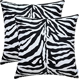CaliTime Pack of 2 Cozy Throw Pillow Covers Cases for Couch Bed Sofa Farmhouse Super Soft Faux Suede Both Sides 18 X 18 Inches White & Black Zebra