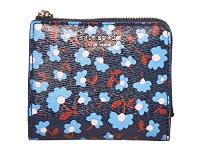 Kate Spade New York Spencer Party Floral Small Bifold Wallet (Blazer Blue Multi) Wallet