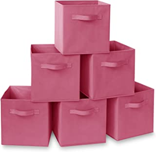 Casafield Set of 6 Collapsible Fabric Cube Storage Bins, Hot Pink - 11