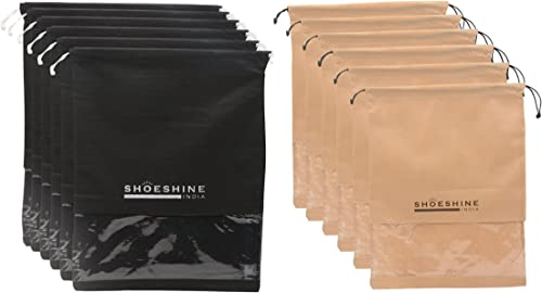 Shoeshine shoe bags with transparent window (Pack of 12) Shoe cover pouches