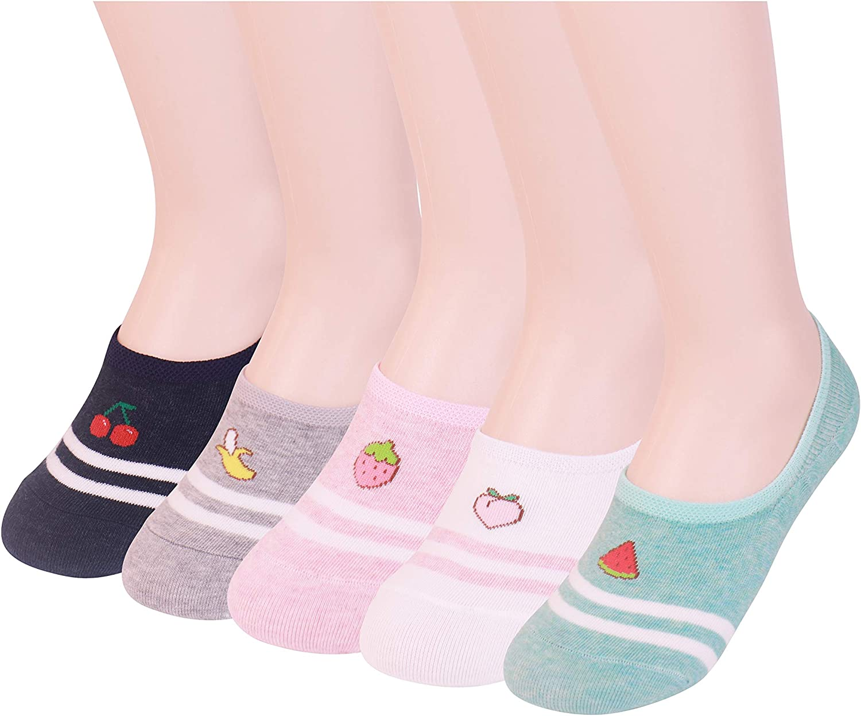 Women's No Show Low Cut Non Slip Socks 5 Pairs