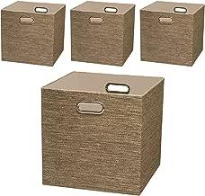 Posprica Storage Basket Bins,13×13 Foldable Storage Cube Boxes Fabric Drawer for Closet Shelf Cabinet Bookcase,4pcs,Coffee
