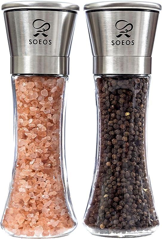Soeos Stainless Steel Salt And Pepper Grinder Set Premium Pepper Mill Pepper Grinder Salt And Pepper Grinder Set With Salt Pepper