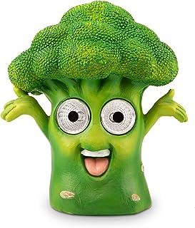 تمثال حديقة شمسية من Blazin' Broccoli | ديكور فناء خارجي - تمثال للخضروات | أضواء زينة شمسية للفناء، الشرفة، سطح | مقاوم ل...