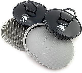 GBS Soft Pocket Shower Palm Hair Brush. Massage & Head Scratcher. Made In USA 4-Pack - 2 Gray 2 Black Shower Shampoo Brush...