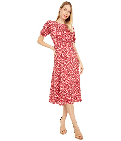 Vince Camuto Printed Chiffon Midi with Smocking and Novelty Sleeve (Persimmon) Women