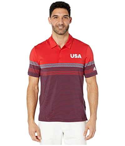 adidas Golf USA Golf Ultimate Bold Stripe Polo (Collegiate Red) Men