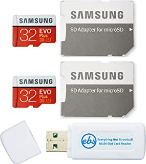 سامسونج 32 جيجا بايت ايفو بلس مايكرو اس دي كارد (2 حزمة EVO+) بطاقة ذاكرة SDHC الفئة 10 مع محول (MB-MC32G) حزمة مع (1) كل ...