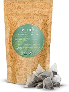 Teatulia Organic Whole-Leaf Neem Nectar Tea Bulk Pack, 50 Premium Corn Silk Pyramid Tea Bags | Natural Caffeine & Award Wi...