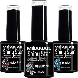Set de Esmaltes de Uñas Semipermanentes para lámpara UV LED - 3 Colores Glitter para uñas de gel - Nail Polish Manicura y ...