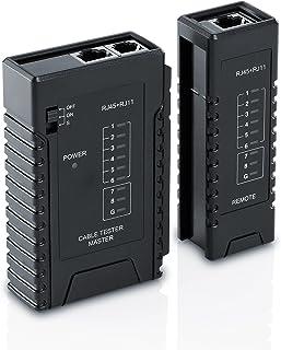 CSL- Comprobador de cables de red para cables RJ45 RJ11 - Comprobador de cables de conexión - Comprobador de líneas - Comprobador de cables de red LAN - Dos velocidades diferentes - Selector de encendido y apagado (ON/OFF) – Negro