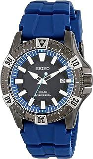 Seiko Men's SNE283 Gunmetal-Tone Stainless Steel Watch with Blue Polyurethane Band