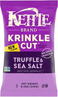 Kettle Brand Potato Chips, Krinkle Cut Truffle and Sea Salt Kettle Chips, 8.5 Oz, 12 Count