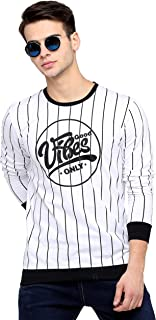 Maniac Stripes Men's Fullsleeve Round Neck White Cotton Tshirt