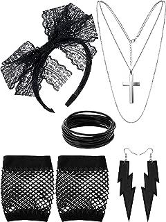 80s Costume Accessories, Fishnet Gloves Lace Headband Earrings Necklace Bracelet