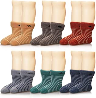 Eocom 6 Pairs Children's Winter Thick Warm Wool Socks Soft Kids Socks Random Color