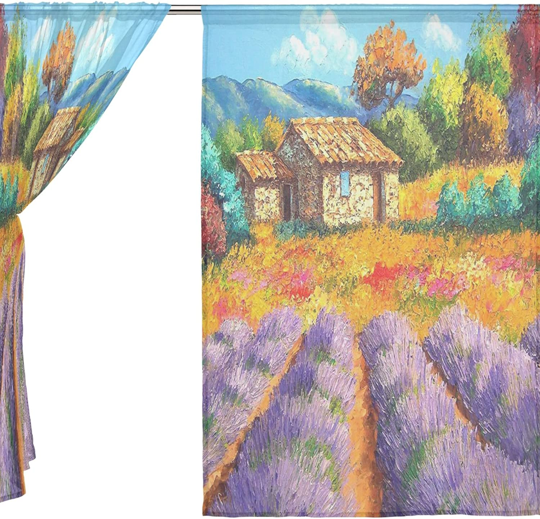 Jstel 2pcs Voile cortina de ventana, de pintura al óleo elegante morado lavanda, de tul pura cortina Drape cama 55x 78(dos paneles Set, poliéster, azul, 55x78x2(in)