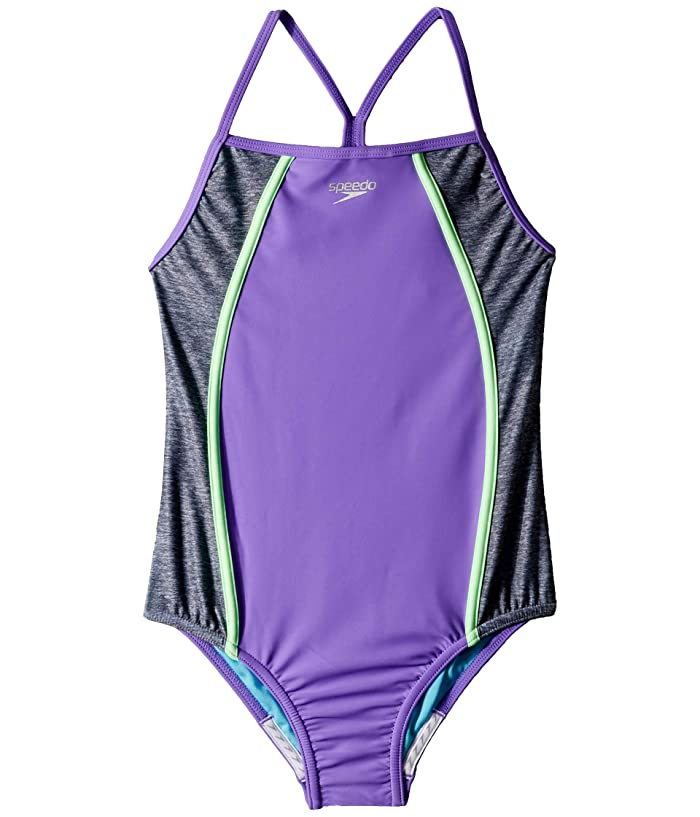 Speedo Kids  Heather Splice One-Piece Swimsuit (Big Kids) (Lavender Purple) Girls Swimsuits One Piece