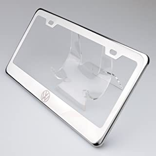 100% Stainless Steel Fit Volkswagon Logo Laser Engrave Chrome Mirror Polish License Plate Frame Holder with Logo Steel Screw Caps