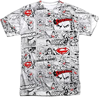 Superman Comic Page All Over Adult T-Shirt White XL