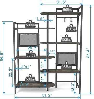 Gezen 6-Tier Industrial Bookshelf Wood Bookcase with Metal Frame, Tall Office Book Shelves Wooden Etagere Book Shelf, Open St
