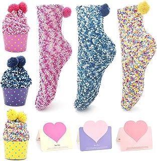 QKURT, 3pcs Divertidos Calcetines de Pastel,Diseño de Magdalenas Calcetines Niñas Calcetines de Navidad con caja de regalo 3 piezas Tarjetas Presentes