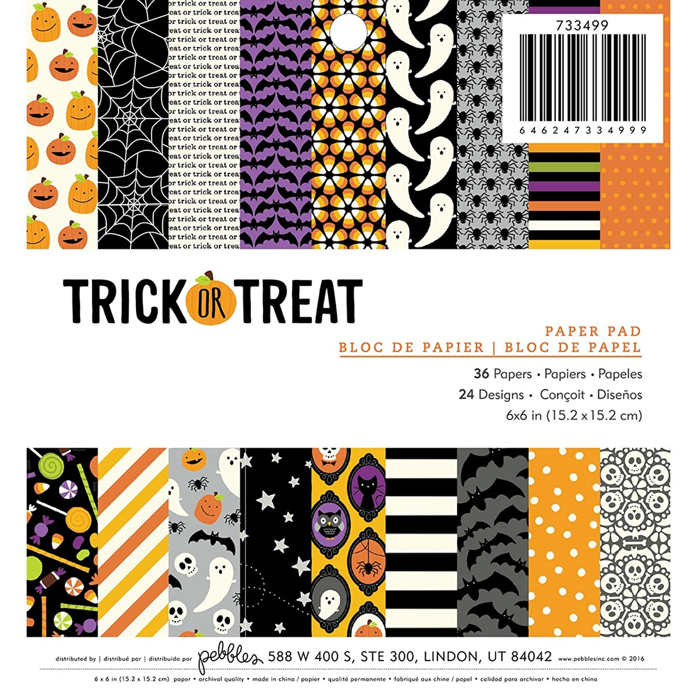 American Crafts Pebbles Halloween 6 x 6 Inch Trick Or Treat 36 Sheet Paper pad